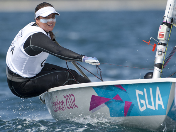 20120730 Copyright onEdition 2012© Free for editorial use image, please credit: onEdition Andrea Aldana Bennett (GUA) competing today, 30.07.12, in the Women's One Person Dinghy (Laser Radial) event in The London 2012 Olympic Sailing Competition. The London 2012 Olympic Sailing Competition runs from 29 July to 12 August and brings together 380 of the world's best sailors to race on Weymouth Bay. Sailing made its Olympic debut in 1900 and has appeared at every Olympic Games since 1908. In 2012 athletes from 63 nations are competing across ten Olympic sailing events. For additional images please go to: http://www.w-w-i.com/isaf_sailing_2012/ For more information please contact: Daniel Smith, marketing@isaf.co.uk or phone +44 (0) 7771 542 131 If you require a higher resolution image or you have any other onEdition photographic enquiries, please contact onEdition on 0845 900 2 900 or email info@onEdition.com This image is copyright the onEdition 2012©. This image has been supplied by onEdition and must be credited onEdition. The author is asserting his full Moral rights in relation to the publication of this image. Rights for onward transmission of any image or file is not granted or implied. Changing or deleting Copyright information is illegal as specified in the Copyright, Design and Patents Act 1988. If you are in any way unsure of your right to publish this image please contact onEdition on 0845 900 2 900 or email info@onEdition.com